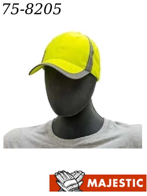 Majestic 75-8205, Hi-Vis Yellow Baseball Style Cap/$ per Cap