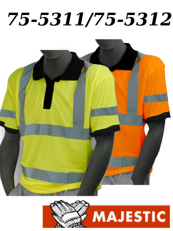 Majestic 75-5311/75-5312, Hi Vis Yellow or Orange, Birdseye Polyester Polo Shirt, ANSI Class 3