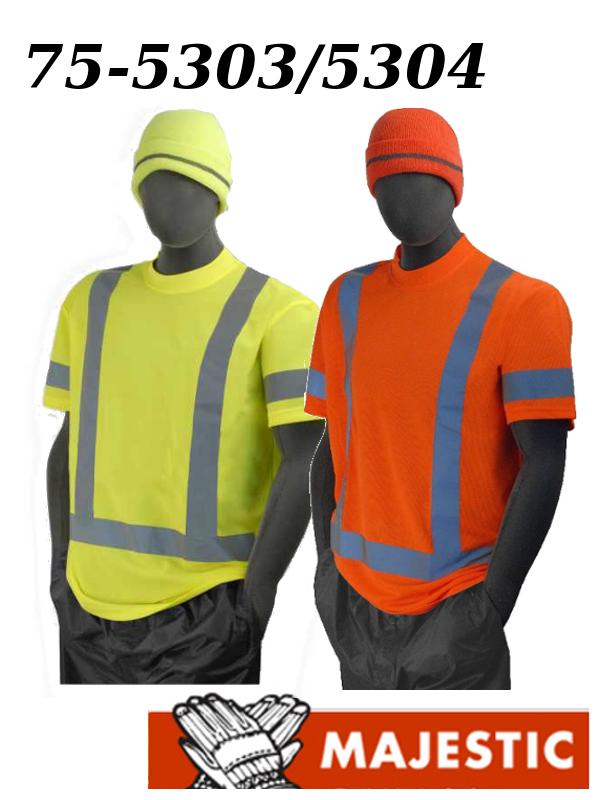 Majestic 75-5303/5304, Hi Vis Yellow or Orange Short Sleeve Shirt - ANSI 3