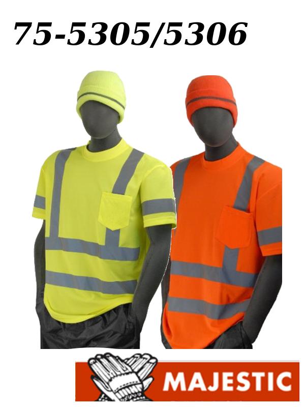 Majestic 75-5305/75-5306, Hi Vis Orange/Yellow, Safety T-Shirt, ANSI Class 3, with Pocket