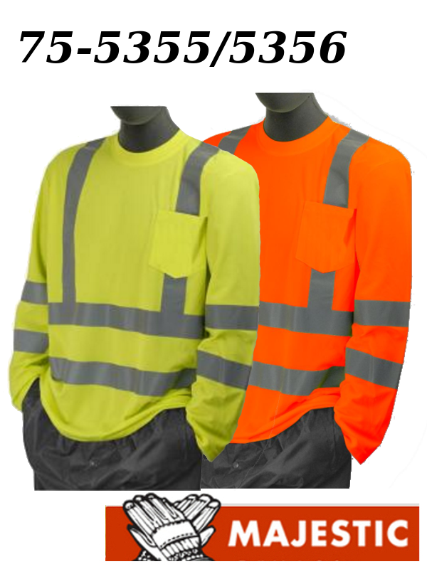 Majestic 75-5355/75-5356, Deluxe Hi Vis Long Sleeve Shirt with Pocket - ANSI Class 3