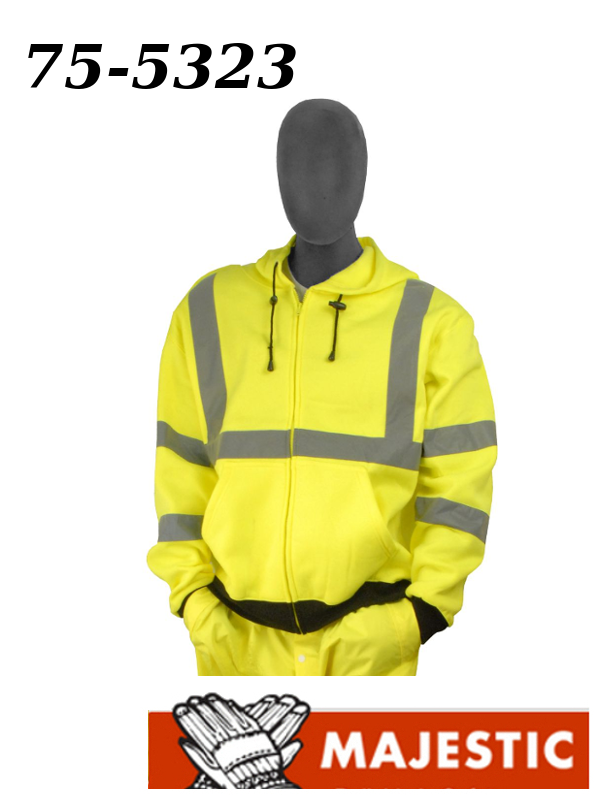 Majestic 75-5323, Hi-Vis Sweatshirt with Zipper Front and Hood - Class ANSI 3