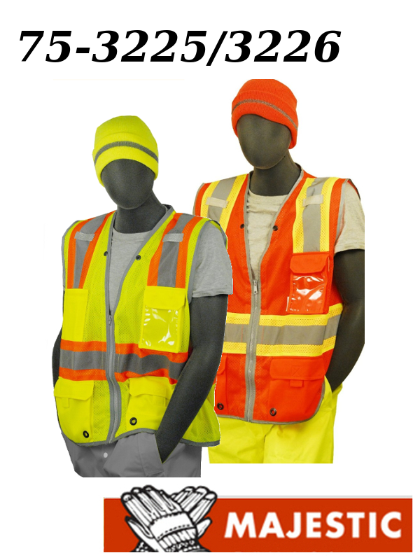 Majestic 75-3225/75-3226, ANSI CLASS 2, High Vis Vest with Zipper & Reflective Piping