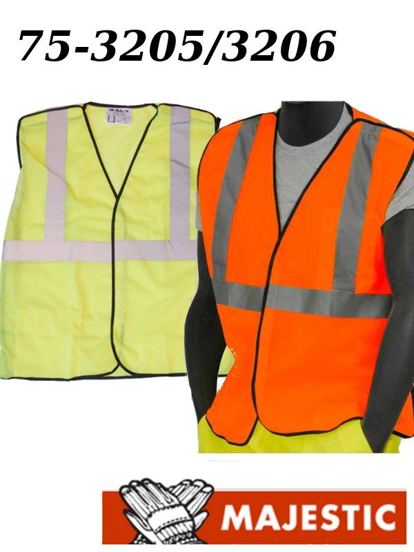 Majestic 75-3205/3206, Polyester Hi-Vis Mesh Vest with 5 Point Breakaway - ANSI 2