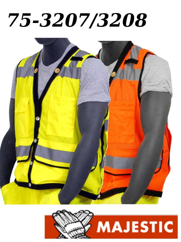 Majestic 75-3207/75-3208, Hi Vis Yellow or Hi Vis Orange, Heavy Duty Safety Vest, ANSI Class 2, Snap Front