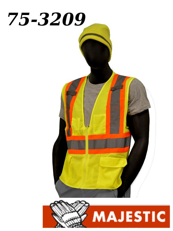 Majestic 75-3209, Hi-Vis Compliant Vest with Zipper - ANSI 2