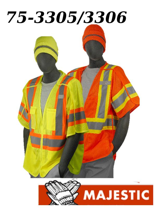 Majestic 75-3305/75-3306, Hi Vis Safety Vest, ANSI Class 3, 5-Point Breakaway DOT Stripes