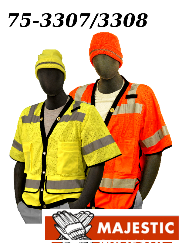 Majestic 75-3307/75-3308, Hi Vis Yellow or Orange, Heavy Duty Safety Vest, ANSI Class 3, Snap Front