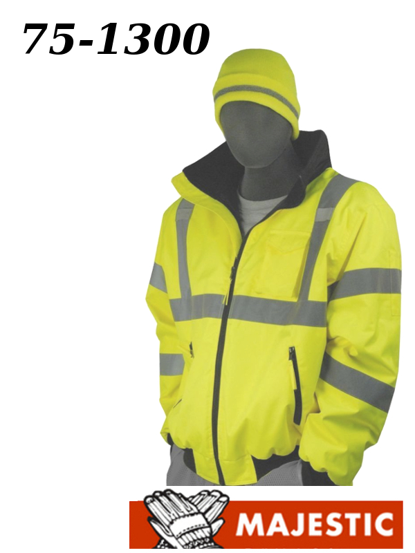 Majestic 75-1300, Hi-Viz Bomber Jacket with Fixed Quilted Liner