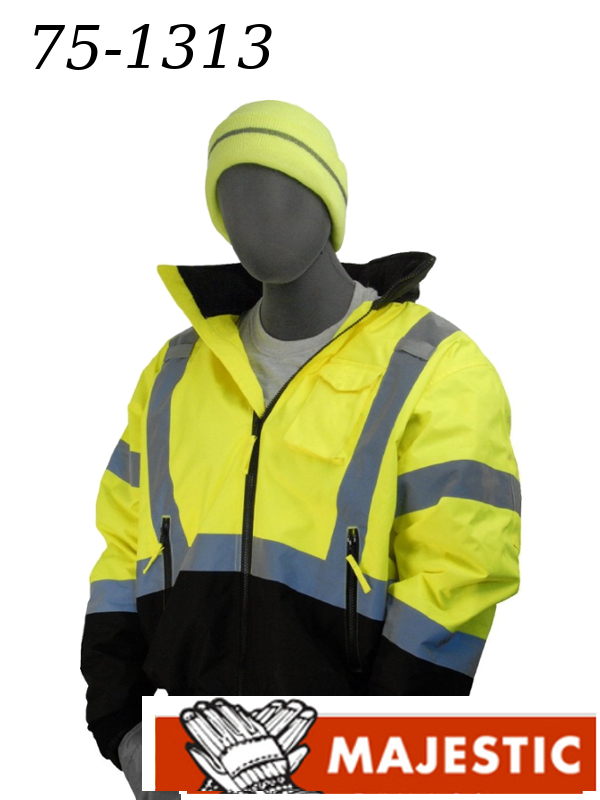 Majestic 75-1313, Hi-Viz Yellow Bomber Jacket with Black Bottom and Fixed Quilted Liner