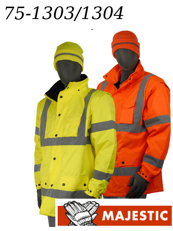 Majestic 75-1303 & 75-1304, High Visibility Yellow or Orange, Polar Fleece Lined, Detachable Hood & Sleeves, Waterproof Parka, Class 3