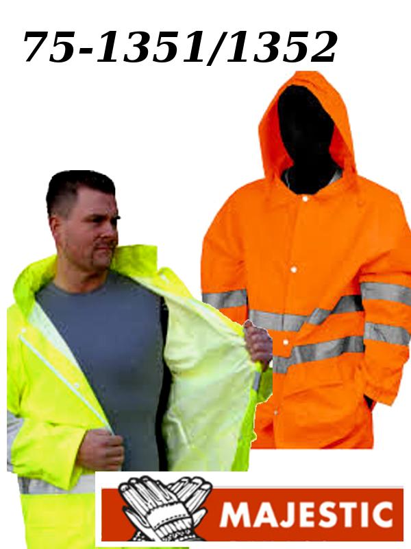 Majestic 75-1351/75-1352, Hi Vis Yellow or Orange Rain Jacket, ANSI Class 3