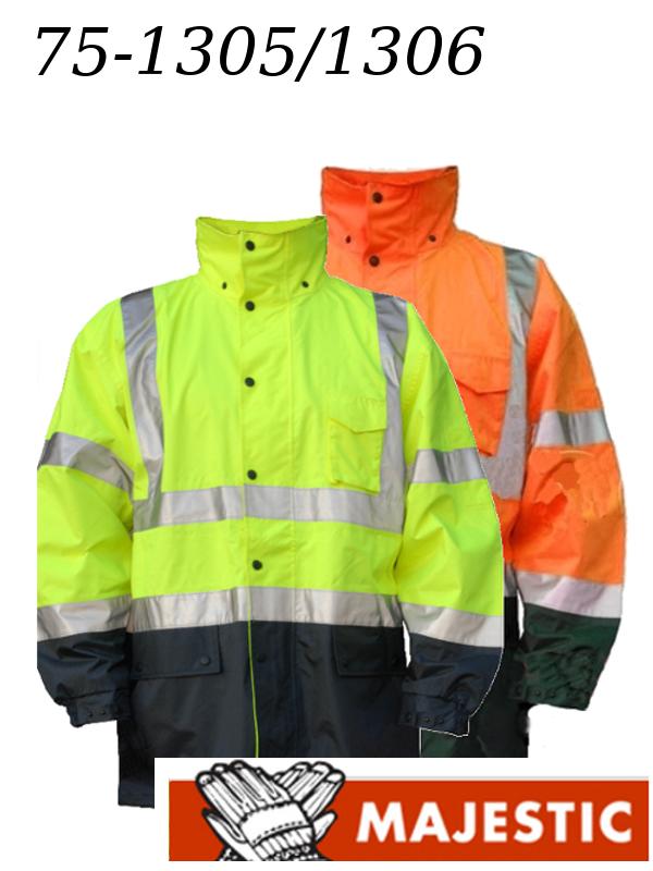 Majestic 75-1305/75-1306 Hi Vis Yellow or Orange, Rain Jacket, ANSI Class 3, Black Bottom