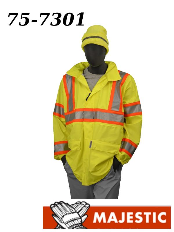 Majestic 75-7301, Hi Vis Yellow Rain Jacket, ANSI Class 3, DOT Stripes