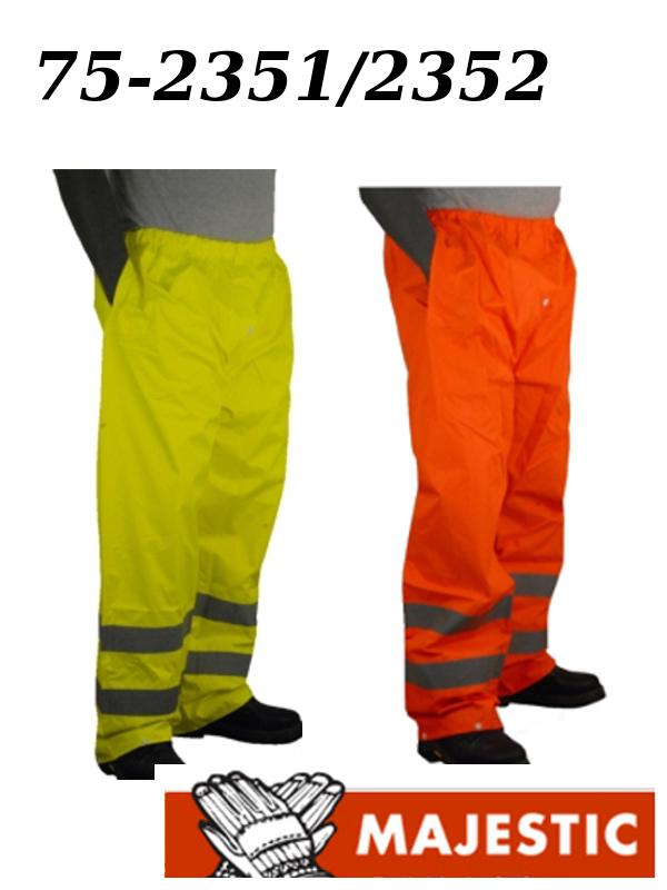 Majestic 75-2351/75-2352, Hi Vis Yellow or Orange Rain Pants, ANSI Class E, Unlined