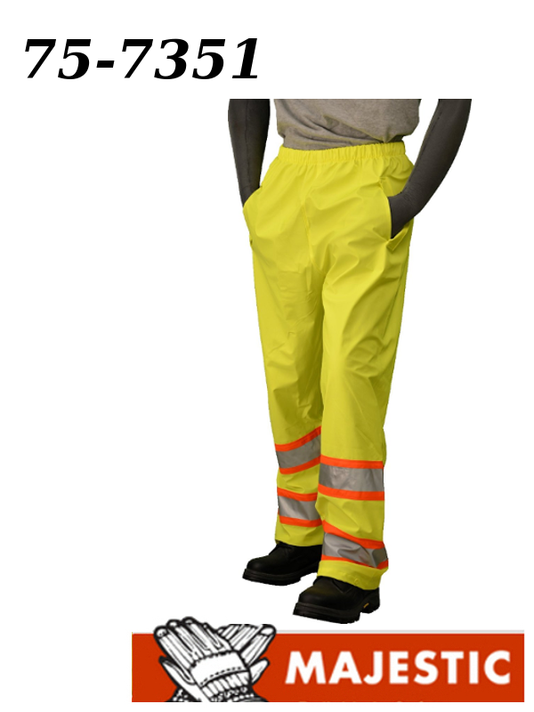 Majestic 75-7351, Polyester, Hi Vis Yellow, DOT, Waist Rain Pant