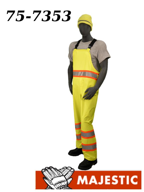 Majestic 75-7353, Polyester High Visibility Yellow Rain Bib, ASNI Class E DOT, Stripes