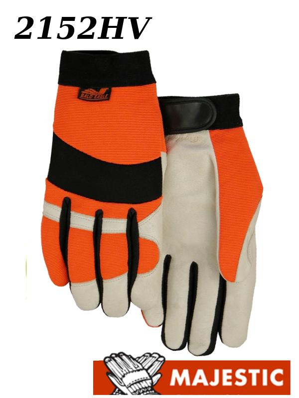 Majestic 2152HV, Bald Eagle Hi Vis, Pigskin Palm, Velcro Closure, Mechanics Style Gloves /$ per Dozen