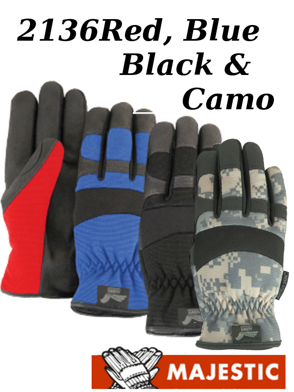 Majestic 2136 Black, Blue, Camo and Red Armor Skin Knit Back, Slip-on Mechanics Style Gloves/$ per Dozen
