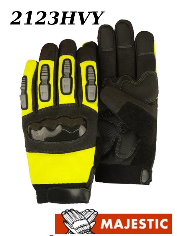 Majestic 2123HVY, Knuckle Guard, Heavyweight, Hi Vis Gloves /$ per Dozen