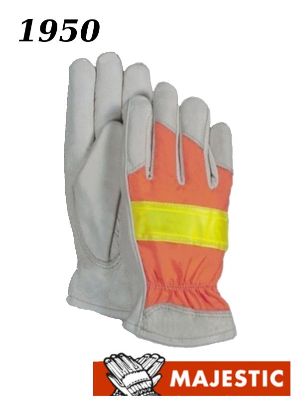 Majestic 1950, Hi Vis Orange Back Cowhide Leather Driver Gloves/$ per Dozen