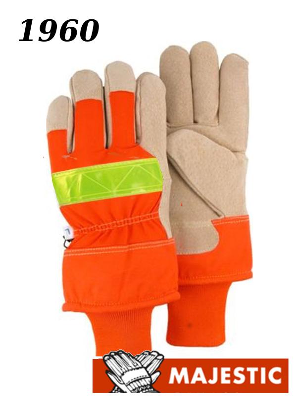 Majestic 1960, Hi Vis Orange Back, Split Pigskin Leather Palm Gloves, Safety Cuff Fleece Lined/$ per Dozen