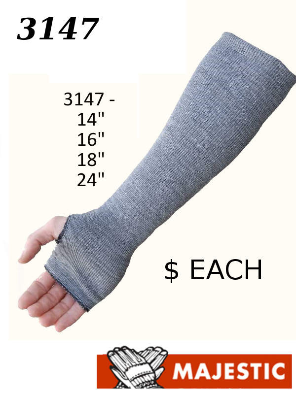Majestic 3147-14TH thru 3147-24TH, Cut-Resistant Washable Sleeve with Thumb Hole/$ per Each