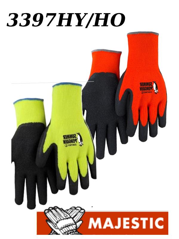 Majestic 3397HO/3397HY Hi Vis, Black Latex Coated Summer Penguin Gloves/$ per Dozen