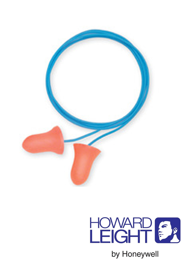 Howard Leight by Honeywell MAX-30 Single Use Max Bell Shape Polyurethane Foam Corded Earplugs With Poly Cord (1 Pair Per Poly Bag, 100 Pair Per Box)