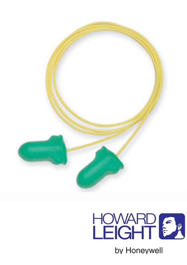 Howard Leight by Honeywell Single Use Max-Lite T-Shape Polyurethane Foam Corded Earplugs (1 Pair Per Poly Bag, 100 Pair Per Box)
