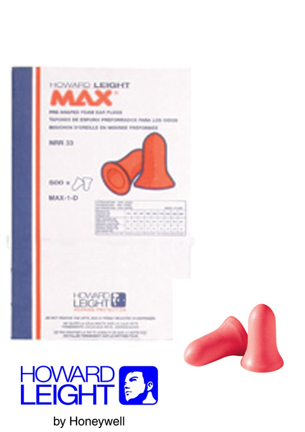 Howard Leight by Honeywell Single Use Max Bell Shape Polyurethane Foam Uncorded Earplugs (500 Pair Per Leight Source 500 Dispenser Refill)