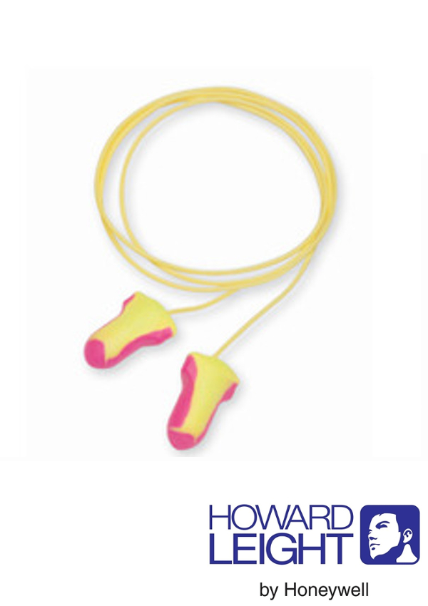 Howard Leight by Honeywell Single Use Laser-Lite T-Shape Polyurethane Foam Corded Earplugs With Poly Cord (1 Pair Per Poly Bag, 100 Pair Per Box)