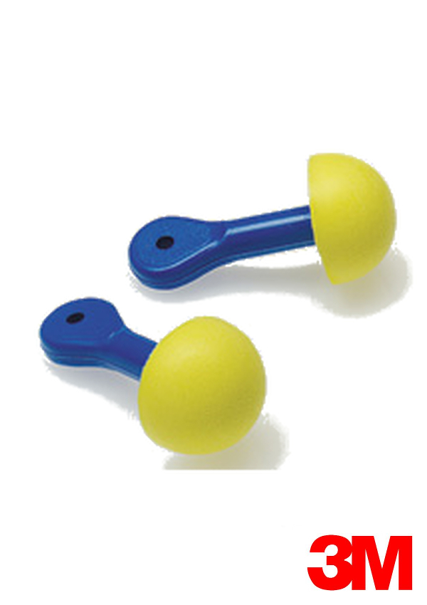 3M Multiple Use Express Pod Plugs Push-to-Fit Polyurethane Foam Uncorded Earplugs With Blue Paddle-Style Grips (1 Pair Per Pillow Pack, 100 Pair Per Box)