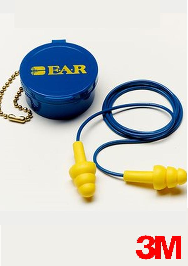 3M Multiple Use UltraFit Triple-Flange Elastomeric Polymer Corded Earplugs With Vinyl Cord (1 Pair Per Case, 50 Pair Per Box)