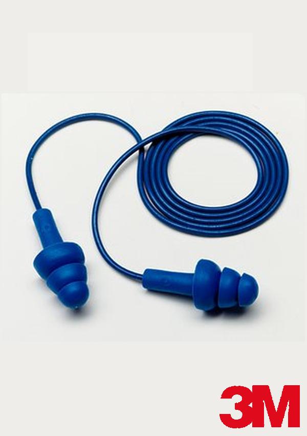 3M Multiple Use UltraFit Triple-Flange Elastomeric Polymer Corded Earplugs With Metal Detectable Cord (1 Pair Per Poly Bag, 100 Pair Per Box)