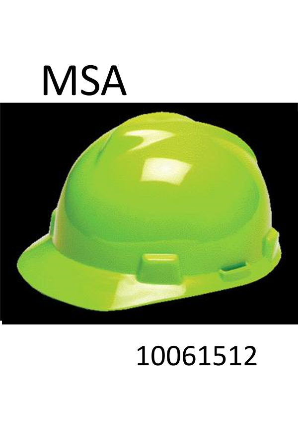 MSA Hi-Vis Yellow-Green, V-Gard® Class E Type I Polyethylene Slotted Hard Cap With Fas-Trac® Suspension