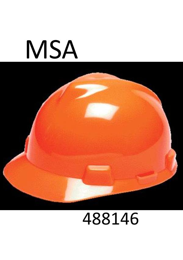 MSA Hi-Viz Orange V-Gard®, Class E Type I, Polyethylene Slotted Hard Cap with Fas-Trac® Suspension