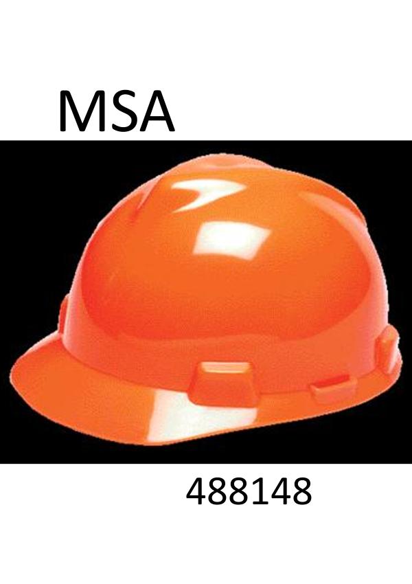 MSA Hi-Viz Orange V-Gard®, Class E Type I, Polyethylene Slotted Hard Cap with  Staz-On® Suspension