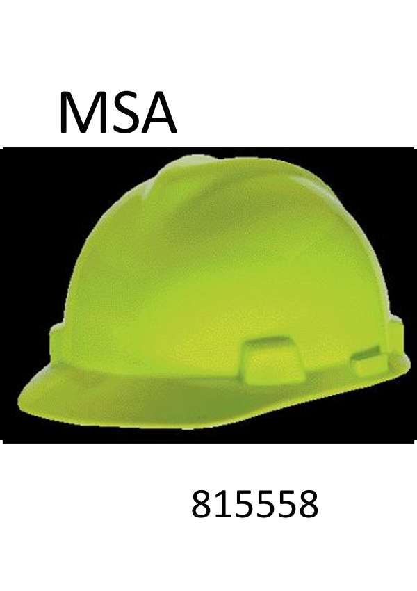 MSA Hi-Viz Lime Green, Standard V-Gard®, Class E Type I, Polyethylene Slotted Hard Cap With Staz-On® Suspension (Minimum Order:  20)