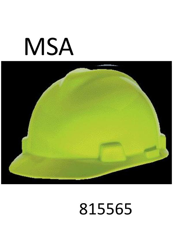 MSA Hi-Viz Lime Green,  V-Gard®, Class E Type I, Polyethylene Slotted Hard Cap with Fas-Trac® Suspension (Minimum Order:  20)