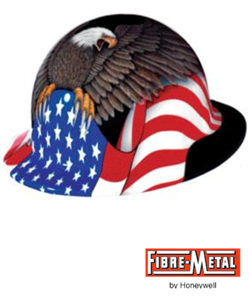 Fibre-Metal E1RW00A006, White E1 Thermoplastic Full Brim Hard Hat With 8 Point Ratchet Suspension And Spirit Of America Graphic/$ per Hard Hat