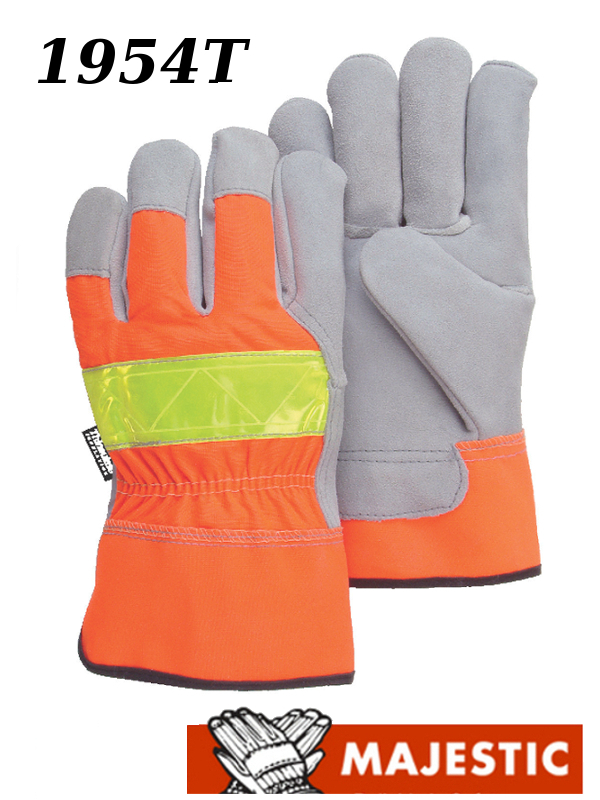 Majestic 1954T, Hi Vis Orange Back, Cowhide Leather Palm, Safety Cuff, Thinsulate Lined Work Gloves/$ per Dozen