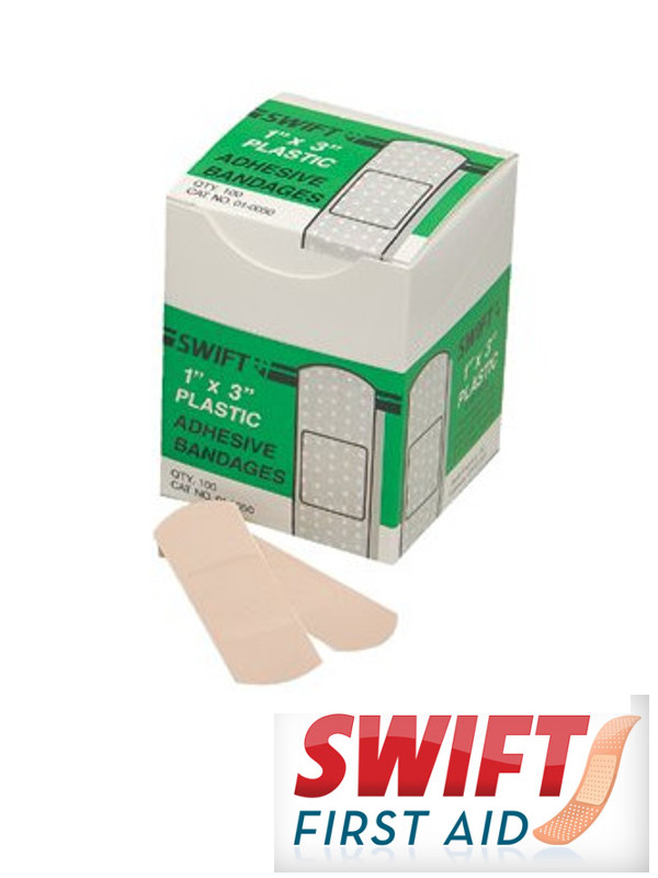 "1"" X 3"" Plastic Strip Adhesive Bandage/100 Per Box"