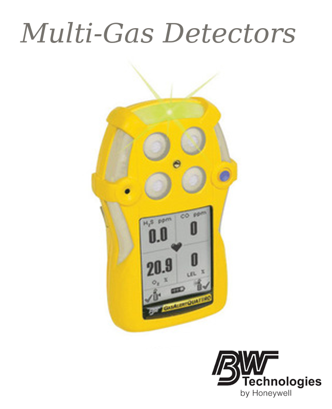 BW Technologies Yellow GasAlertQuattro Portable Combustible Gas, Carbon Monoxide, Hydrogen Sulphide And Oxygen Monitor With Alkaline Battery