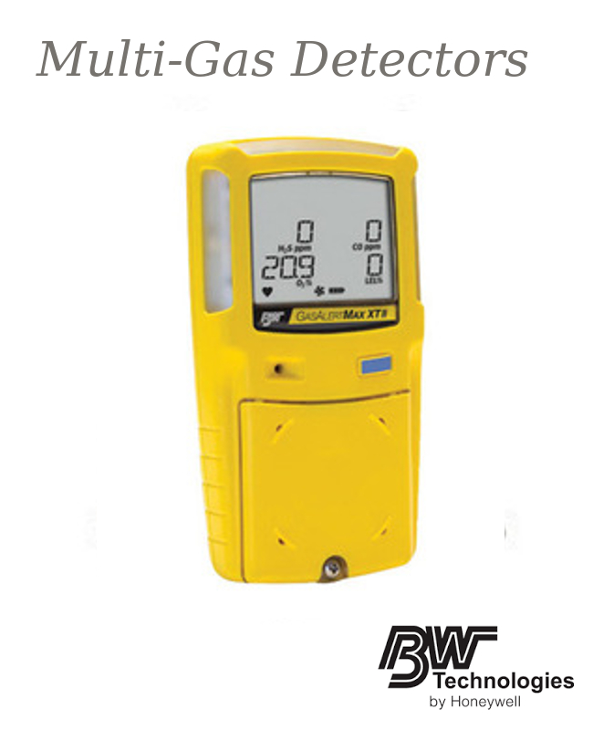 BW Technologies Yellow GasAlertMax XT II Portable Combustible Gas, Carbon Monoxide, Hydrogen Sulphide And Oxygen Monitor with Rechargeable Battery