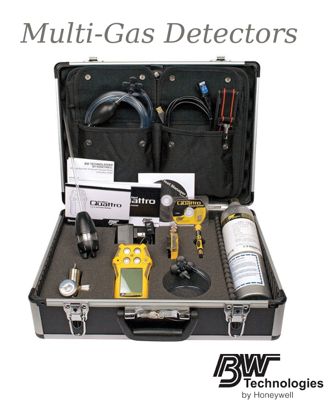 BW Technologies Yellow GasAlertQuattro Portable Combustible Gas, Carbon Monoxide, Hydrogen Sulphide And Oxygen Monitor With 1' Hose, 0.5 LPM Regulator, Sampling Probe And Calibration Gas
