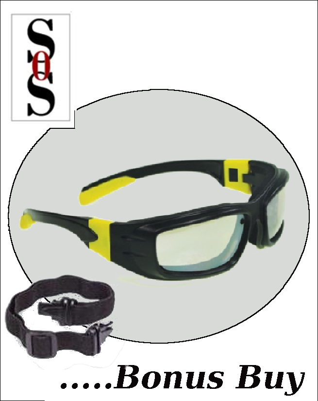 Panzer Sealed Eyewear - Clear Anti-Fog, Indoor/Outdoor Lens with Black and Yellow Frame, Strap