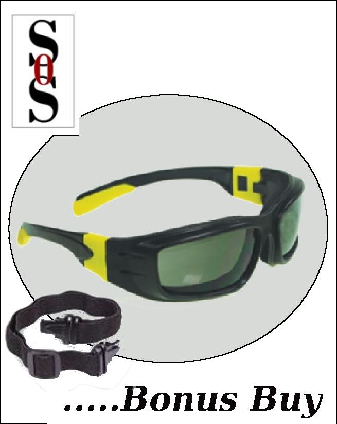 Panzer Sealed Eyewear - IRUV 3.0 Safety Lens with Black and Yellow Frame, Strap