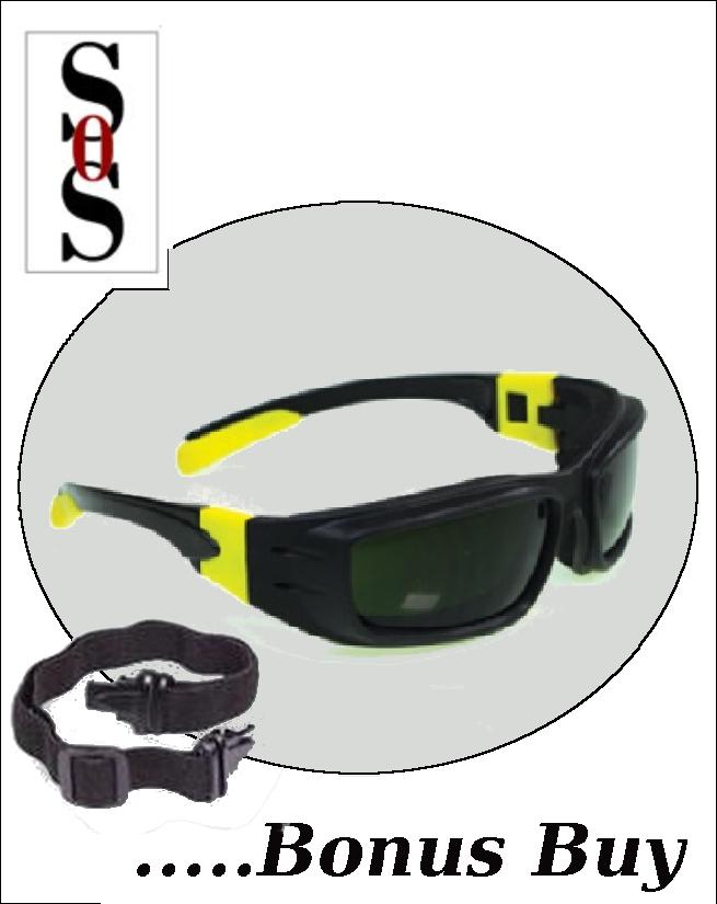 Panzer Sealed Eyewear - IRUV 5.0 Anti-Fog Safety Lens with Black and Yellow Frame, Strap