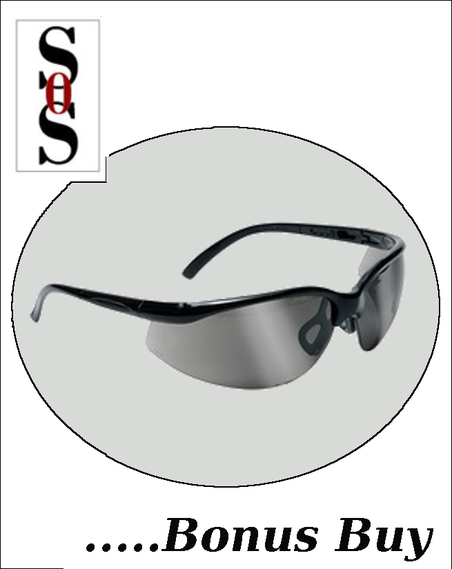 Motion Eyewear with Black Frame, Silver Mirror Polycarbonate Lens with Scratch Resistant Coating and Adjustable Temples